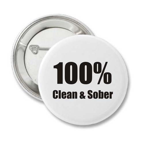 100% Clean & Sober Recovery Badge