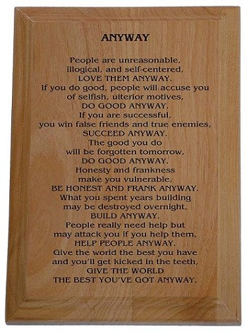 Anyway Poem Plaque Recovery Gifts And Slogan Plaques At