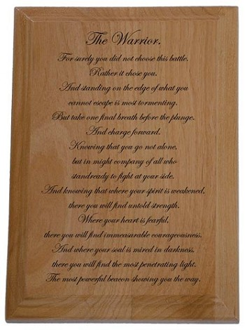 The Warrior Solid Wood Laser Engraved Plaque