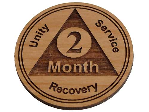 Wooden 2 Month AA Chip / TokenWooden 60 Day Chip / AA 2 Month Medallion
