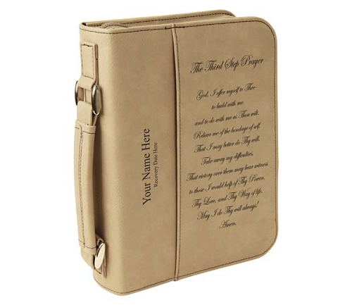 Leatherette Big Book Cover Personalized Light Brown Book Case With Aa Third Step Prayer