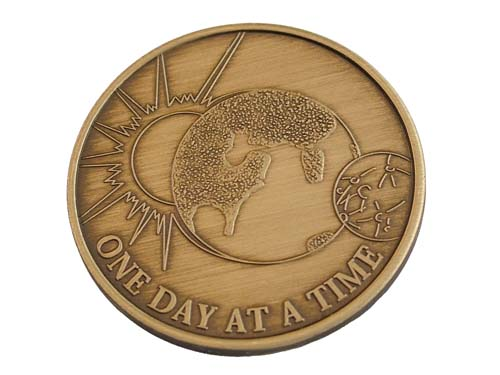 One Day At A Time Serenity Prayer Medallion Bronze