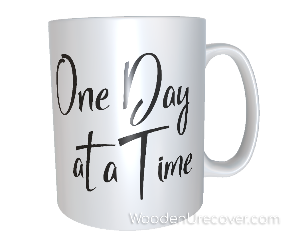 Personalized One Day at a Time Coffee Cup