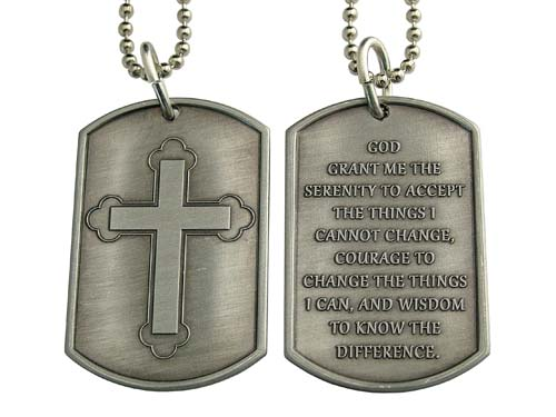 Antique silver colored nicodium recovery dog tags and key tags antique silver colored nicodium recovery dog tags and key tags cross with serenity prayer necklace aloadofball Images