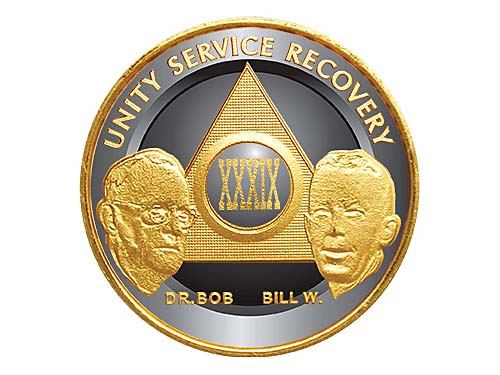 Aa Anniversary Chips Enameled Recovery Coins Birthday