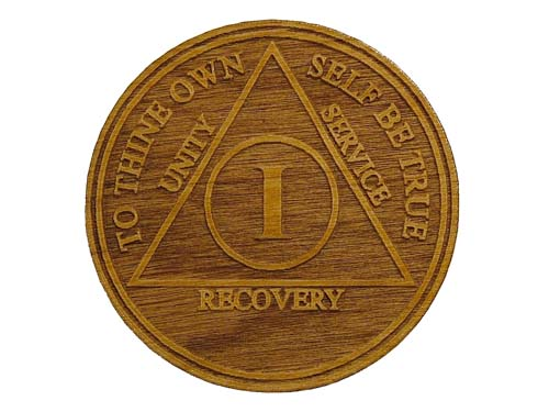 Wooden Aa Anniversary Chips And Sobriety Coins