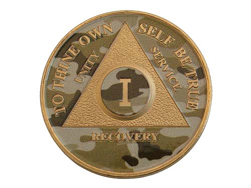 Camo Design Aa Tokens Alcoholics Anonymous Medallions