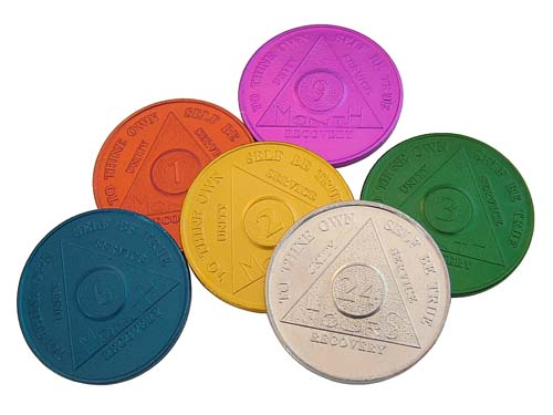 Aluminum Aa Tokens And Medallions Alcoholics Anonymous