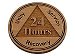 Wooden AA 24 Hour Chip - Recovery Medallion