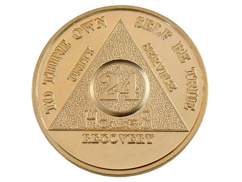 Gold Plated Recovery Medallions Sobriety Chips And Tokens