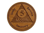Wooden 5 Month AA Chip / Token