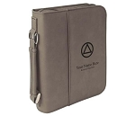 Personalized Big Book Cover - Grey Leatherette w/Circle & Triangle