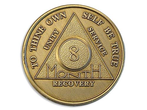 8 Month Bronze Alcoholics Anonymous Tokens And Medallions