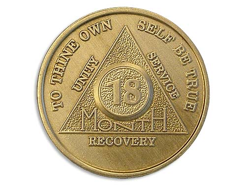 18 Month Bronze Alcoholics Anonymous Chips And Tokens Aa