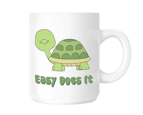 Cute Turtle Easy Does It Coffee Mug 12 Step Recovery Gifts