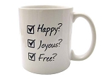 Happy, Joyous, Free Coffee Cup
