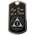 Personalized AA Birthday Dog Tag with One Day at a Time