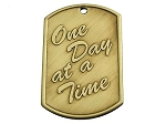 Dog Tag - One Day at a Time with Blank Back