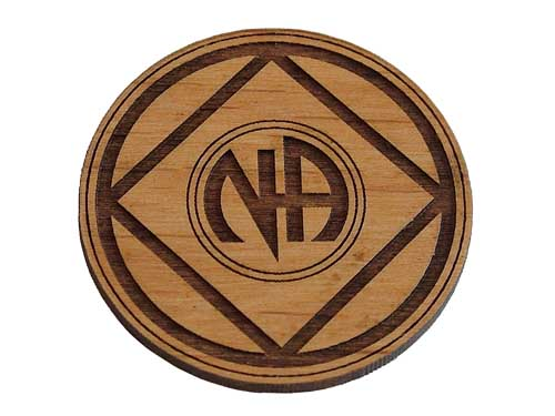 Wooden Narcotics Anonymous Chip