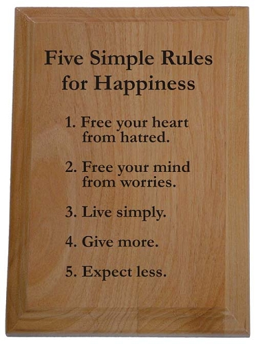 Five Simple Rules for Happiness Plaque | 12 Step Recovery ...