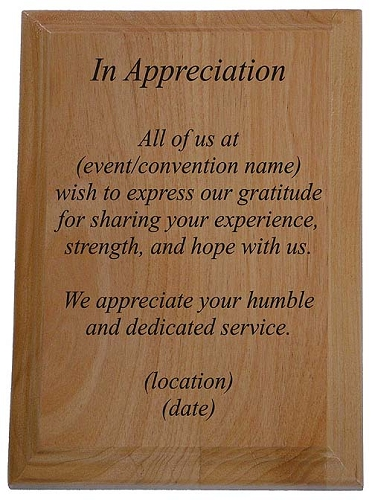 Service appreciation plaque recovery gifts and slogan for Plaque of appreciation template