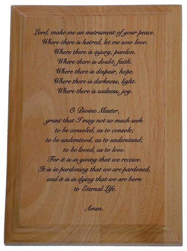 Prayer of St. Francis Wooden Engraved Plaque | 12 Step Gifts