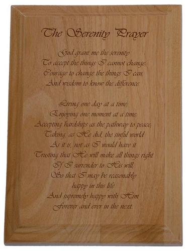 The Serenity Prayer Plaque Long Form Serenity Prayer
