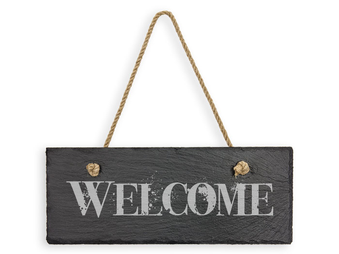 Hanging Slate Welcome Sign Laser Engraved Plaques Signs And Custom Personalized Gift Ideas At Woodenurecover