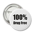 100% Drug Free - Recovery Badge