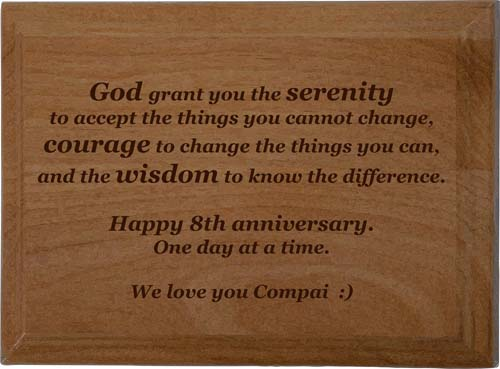 The Serenity Prayer Plaque Personalized Laser Engraved