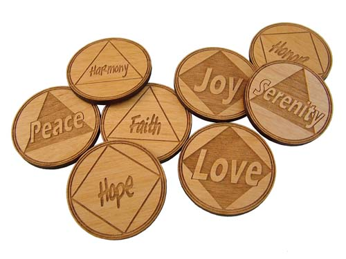 Laser Engraved Word Tokens Motivational Recovery Tokens