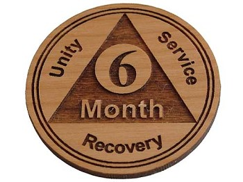 Wooden 6 Month AA Chip / Token