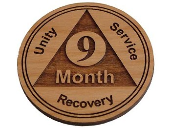 Wooden 9 Month Recovery Medallion