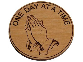 Wooden AA Recovery Medallion - Praying Hands