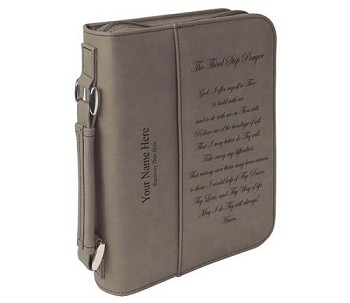 Personalized Big Book Cover - Grey Leatherette w/3rd Step Prayer