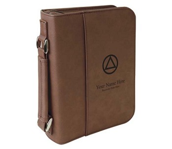 Personalized Big Book Cover - Dark Brown Leatherette w/Circle & Triangle