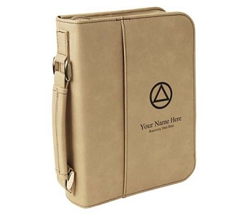 Personalized Big Book Cover - Lite Brown Leatherette w/Circle & Triangle