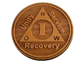 Any Year Sobriety Chip - Alder Wood