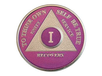 Silver Plated AA Coin - Amethyst