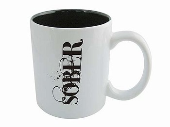 SOBER Coffee Mug - White on Black