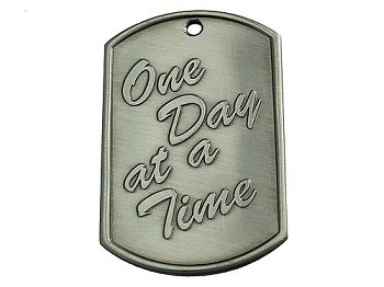 One Day at a Time Dog Tag - Blank Back