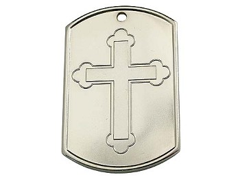 Recovery Dog Tags - Cross with Blank Back