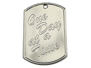 Bright Nickel Plated Dog Tag - One Day at a Time