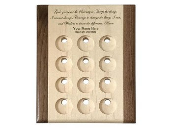 Deluxe Maple Personalized Serenity Prayer Medallion Display