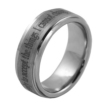Serenity Prayer Tungsten Carbide Recovery Ring