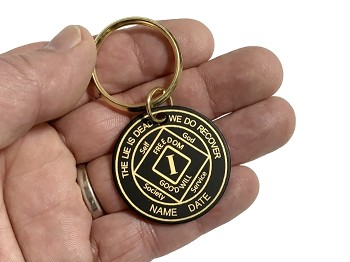 Personalized Brass NA Anniversary Key Tag
