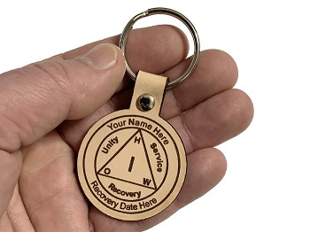Personalized Leather AA Anniversary Key Tag