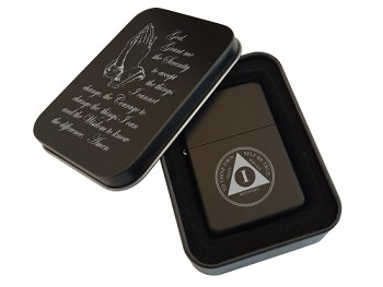 Matte Black AA Anniversary Lighter and Gift Tin