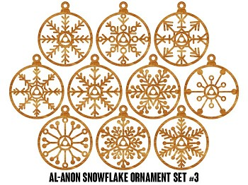 Al-Anon Snowflake Ornaments - 10 pak Set #3 - 12 Step Holiday Gifts for Al- Anon Family Group Members