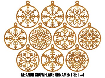 Al-Anon Family Group Snowflake Ornaments - 10 pak Set #4 - 12 Step Holiday Gifts for Al-Anon Members